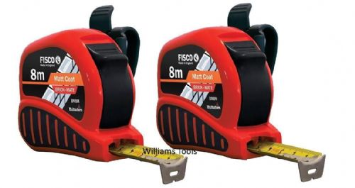 2 x Fisco BrickMate Tape Measure 8m Brick Block Courses 25mm Blade Metric Builders